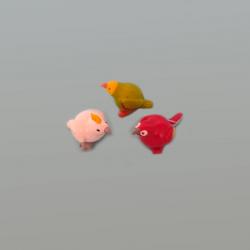 Set miniaturas 3 pájaritos tropicales